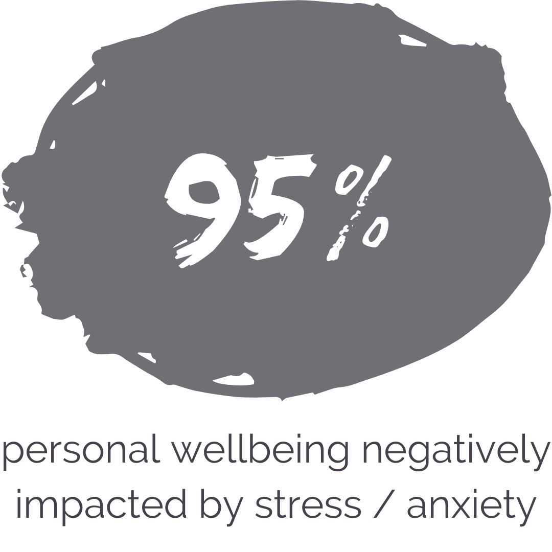 95% of students' personal wellbeing is negatively impacted by stress and anxiety